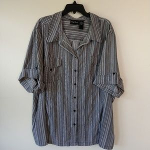 Maggie Barnes Roll tab Button up Blouse 4xl